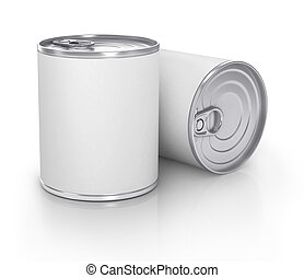 Can with blank white label isolated on white