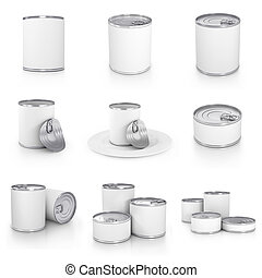 Can collection with blank white label isolated on white