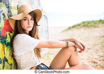 Beautiful young woman - Fashion lifestyle, Portrait of...