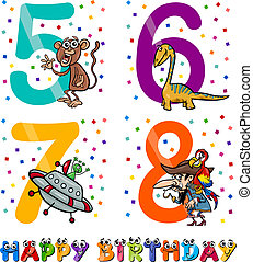 birthday cartoon design for boy - Cartoon Illustration of...