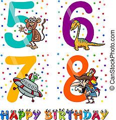 birthday cartoon design for boy - Cartoon Illustration of...