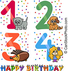 birthday cartoon design for girl - Cartoon Illustration of...