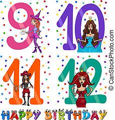 birthday cartoon design for girl - Cartoon Illustration of...