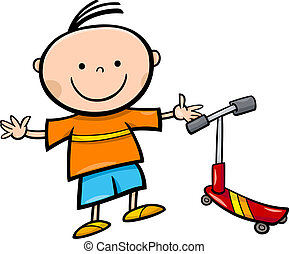 cartoon little boy with scooter