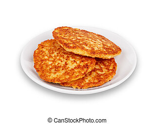 Fried potato pancakes on the white background