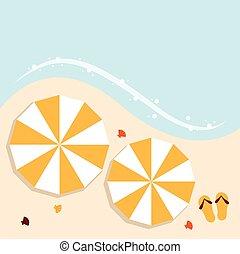Beach summer background with umbrellas
