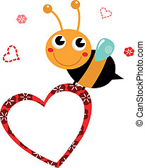 Cute beautiful Bee with blank heart for Mother's Day