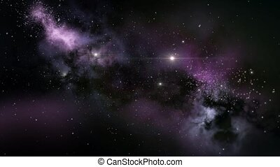Purple interstellar nebula cloud - Nebulae and interstellar...