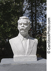 Bust of Maxim Gorky in park - Monument to Russian writer...