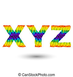 triangular letters xyz - rainbow vector alphabet font in...