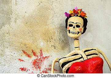 Day of the dead. Catrina on old wall - Day of the dead....