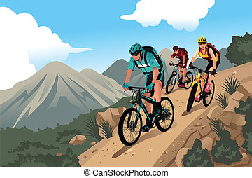 Mountain bikers in the mountain - A vector illustration of...