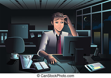 Businessman working late at night in the office - A vector...
