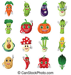 Vegetable character icons - A vector illustration of cute...