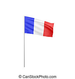 flag of France with flag pole waving in wind on white...
