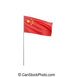 flag of China - Flag of China with flag pole waving in wind...