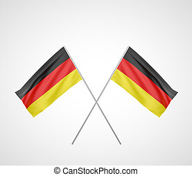 two crossed Flag of Germany with flag pole waving in wind