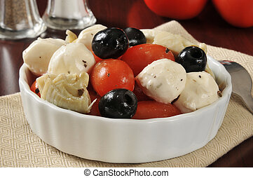 Tomato and mozzarella salad - Closeup of a tomato and...