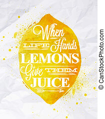 Poster fruit lemon - Poster with yellow watercolor lemon...