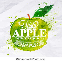 Poster fruit apple green - Poster with green watercolor...