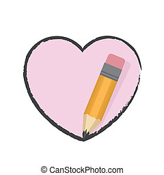 Pencil Drawing Heart - Fat pencil drawing pink heart