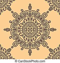 Seamless ethnic pattern of circular. Seamless pattern can be used for wallpaper, pattern fills, surface textures. Vector Illustration.