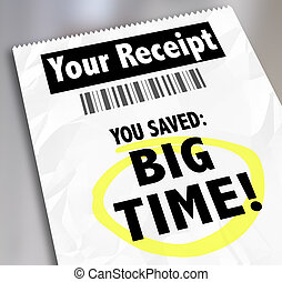 Your Receipt You Saved Big Time Store Purchases Sale Discount