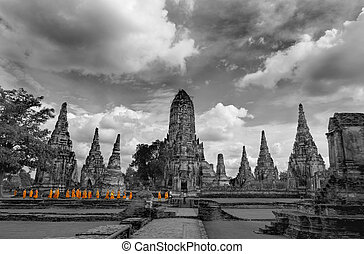 Monks touring Ayutthaya - Shot at a temple area in...