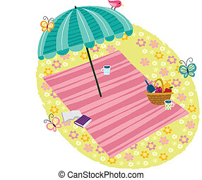 The view of flower bed - The view of parasol in the flower...
