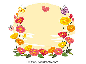 The view of flowers with butterfly