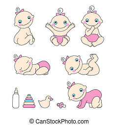 Set of baby girls. Vector illustration - Set of cute baby...
