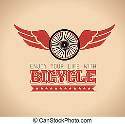 Bike design over orange background,vector illustration