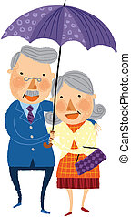 The view of old couple is standing with umbrella