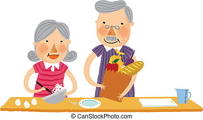The view of old couple is cooking