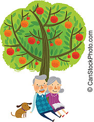 The view of tree - The view of old couple under the tree