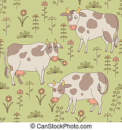 Seamless texture with cows, bull and flowers in the style of...