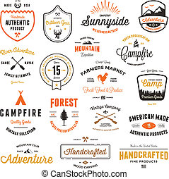 Vintage badges and labels - Set of retro vintage badges and...