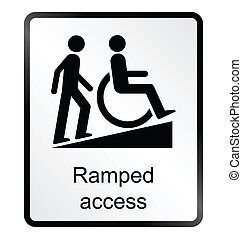 Ramped Access Information Sign - Monochrome ramped access...