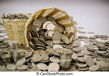 Stack of coin - Stack of Thai baht coins stock photo in...