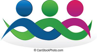 equipe, amigos, Abraçando, logotipo