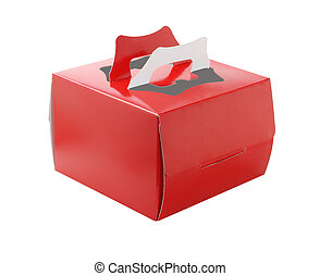 Red Takeaway Cake Box On White Background
