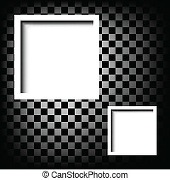 white frame on checkerboard abstract background