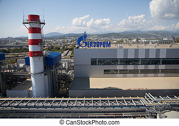 Gazprom company logo on the thermal power plant. - ADLER,...