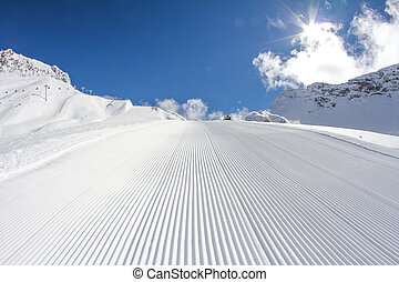 perfectly groomed ski piste - perfectly groomed empty ski...