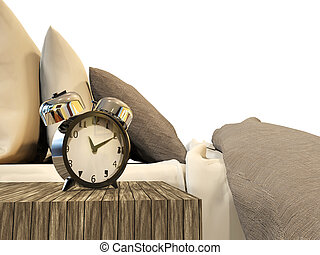 alarm clock with bed - illustration of alarm clock with bed...