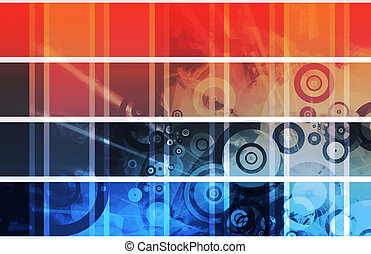 Multimedia - Website Headers Design Clip Art Set Blank