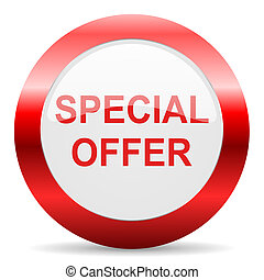 special offer glossy web icon - red white web icon