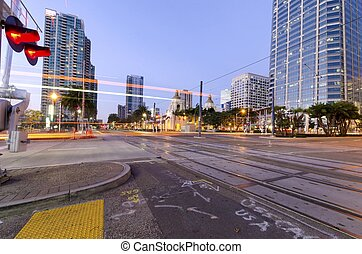 Downtown San Diego - A street view of Downtown San Diego,...