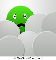 emotional green circle - Awkward green circle among gray...