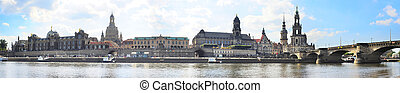 Panoramic view of Dresden - Dresden old town and river Elbe...